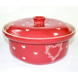 round pot red heart