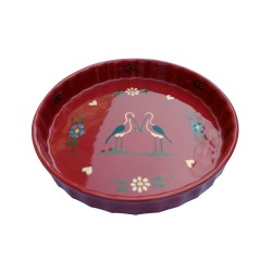 Pie pan red stork