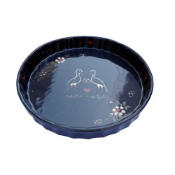 Pie pan blue stork