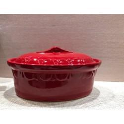 Terrine ovale 29 cm - rouge uni - Poterie d'Alsace