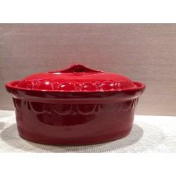 Terrine ovale 34 cm - rouge uni - Poterie d'Alsace