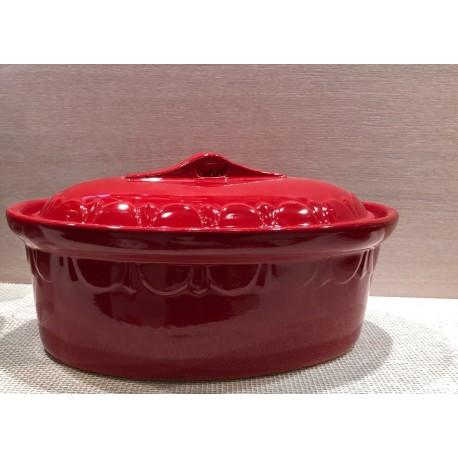 Terrine ovale 37 cm - rouge uni - Poterie d'Alsace