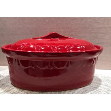 Terrine ovale 40 cm - rouge uni - Poterie d'Alsace