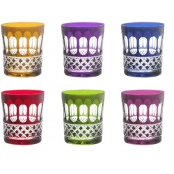 6 Water Color Or Whiskey Glasses Cut Mireille