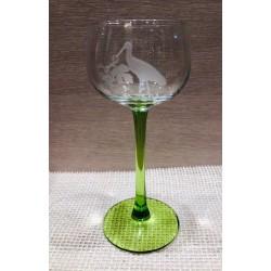 6 verres à vin d'Alsace gravure Cigogne