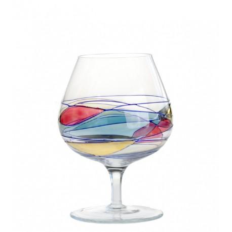6 cognac Glasses Colored  Milano
